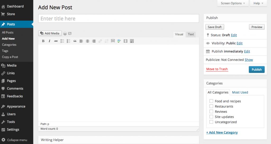 wordpress blog new post